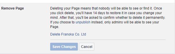 kufuta ukurasa Facebook