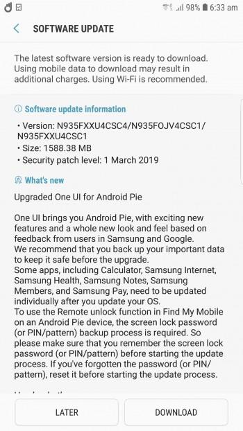 sasisho la Android Samsung Galaxy FE