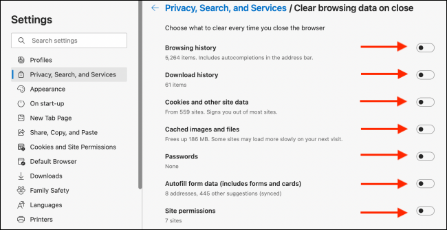 "Maeneo Ya ""Privacy, Search, and Services"" na ""Clear Browsing Data"" Katika Kivinjari Cha Edge"