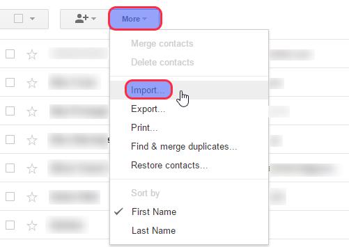 Eneo La 'Import' Ndani Ya 'Google Contacts'